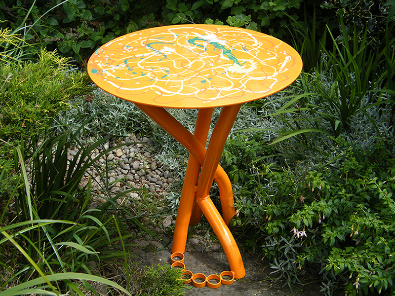 Orange Table - view of painted table top