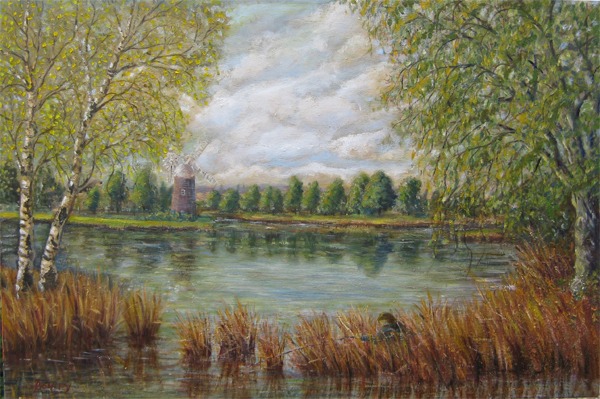 Oil painting Angling on the Norfolk Broads