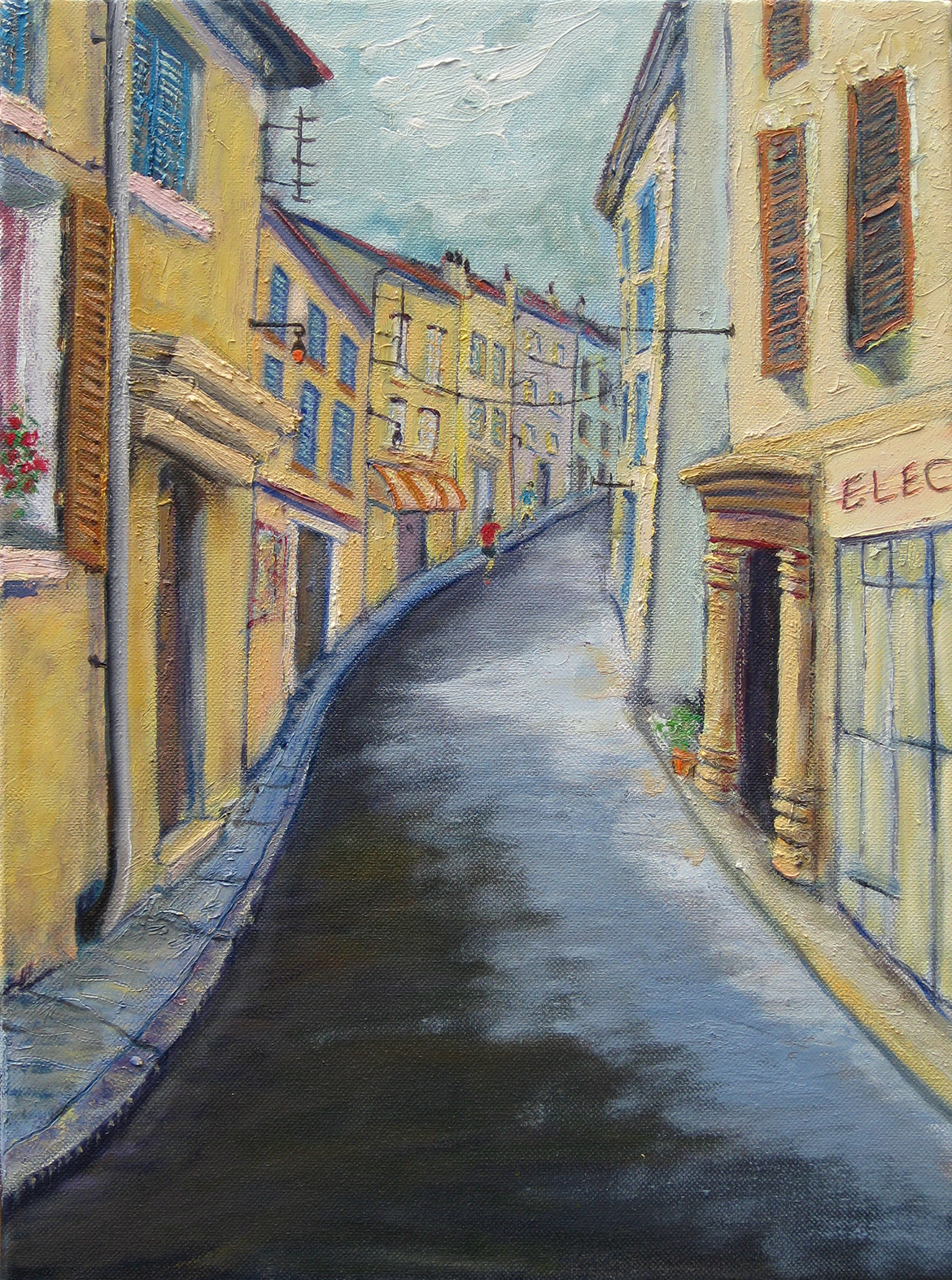 Oil painting of a Arles plein air