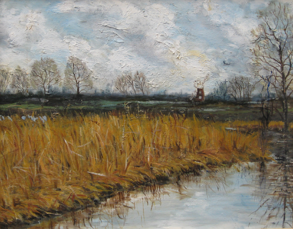 Oil painting Norfolk Broads in Winter