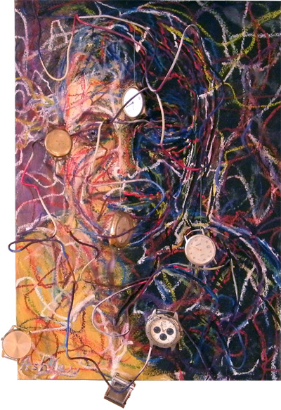 Self-portrait, mixedmedia, oil, oil pastel, wire and watches on MDF