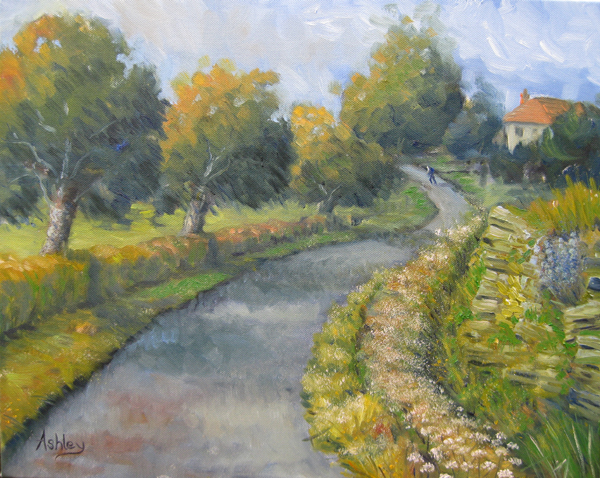 Oil painting near Stow-On-Wold