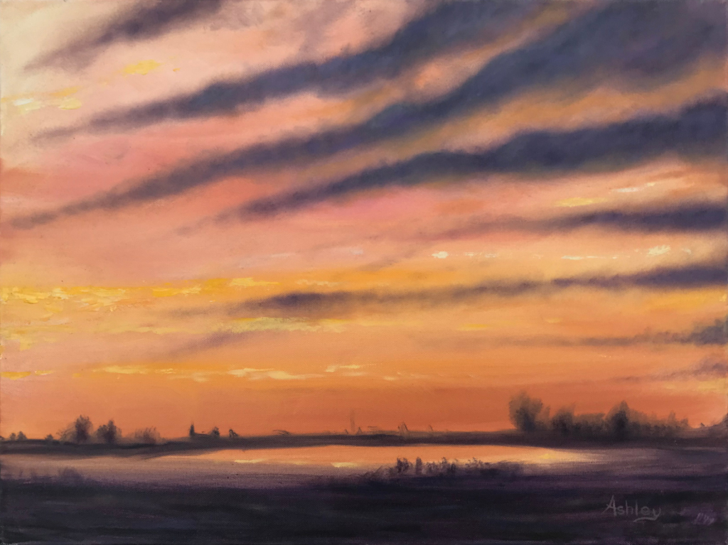 Oil painting Dusk on Fens