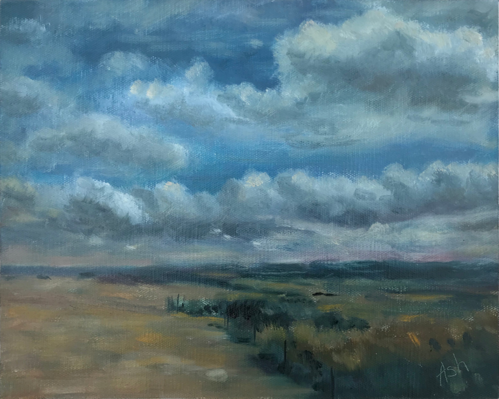 Plein air study of Cley Beach and Marsh