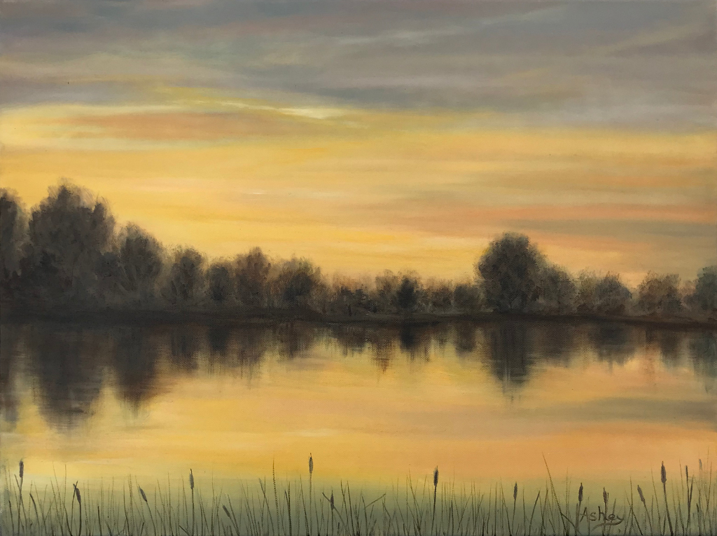 Oil painting depicting a April fen morning sky