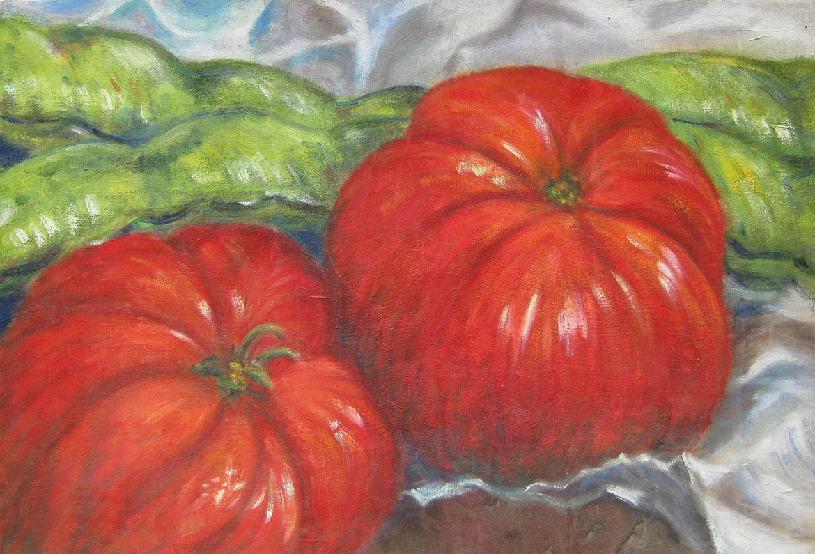 Oil painting Still life with tomatoes and beans