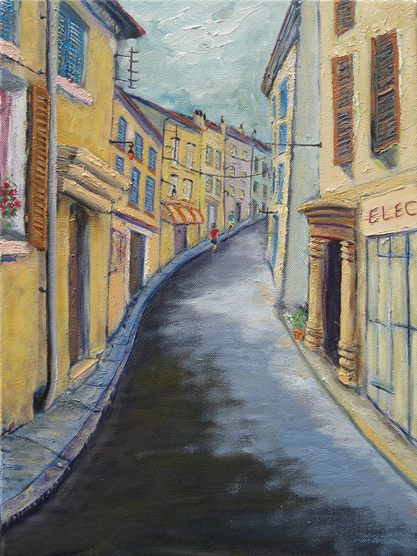 Oil painting of a Arles alley