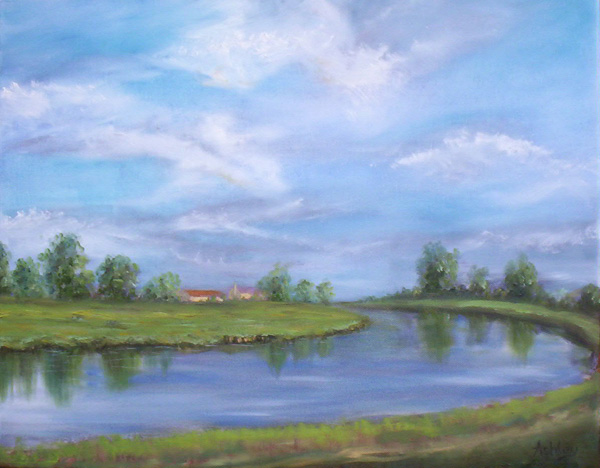 Original oil painting titled Ten Mile Bank Viewed from Brandon Creek