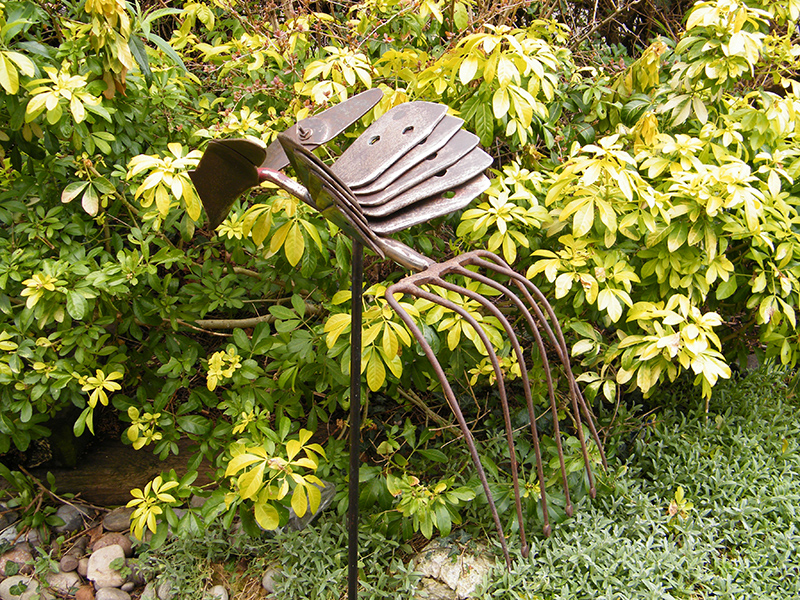 The Ridger Bird - Metal sculpture created from farming implements