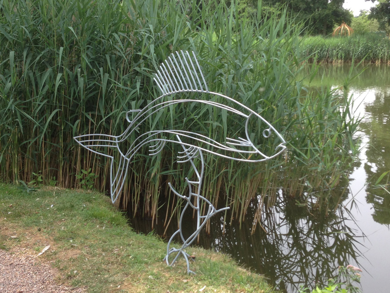 Fish sculpture commission grayling fish sculpture for Fish garden statue