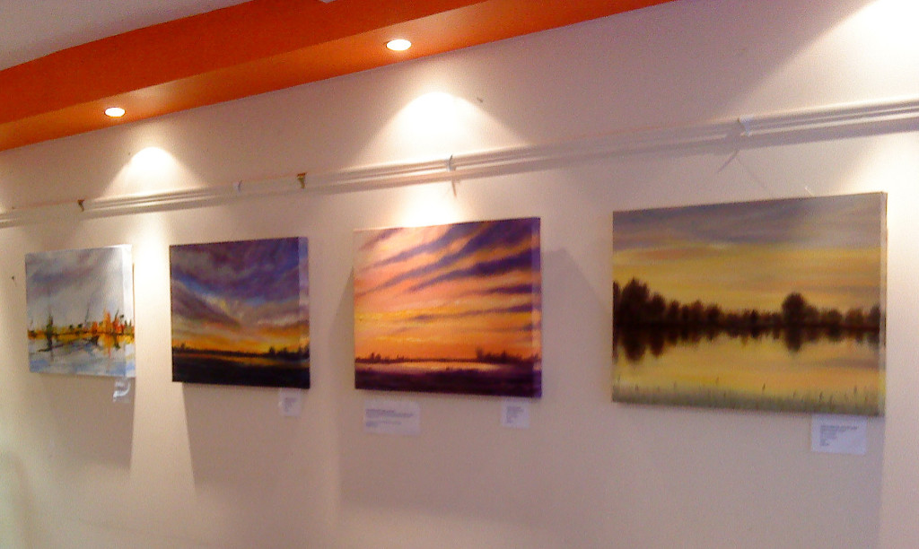 Fenland painting series exhibited at Cazimir Cafe, Cambridge